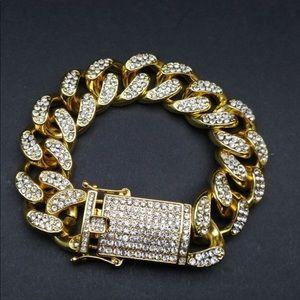 Men's cuban link two tone silver gold bracelet